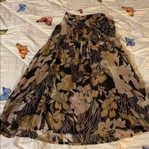Sheer floral pleated rayon blouse Newport News